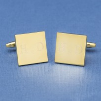 Gold Engraved Initial Cufflinks