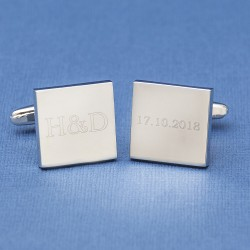 Initials and Date Square Wedding Cufflinks Engraved