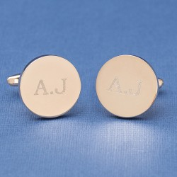 Rose Gold Button Initial Cufflinks