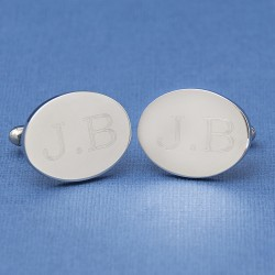 Small Oval Engraved Initial Cufflinks