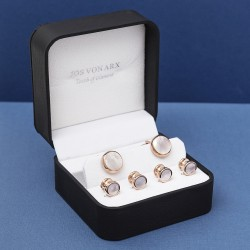Designer Mother of Pearl Cufflinks and Dress Shirt Studs Set