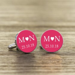 Coloured Initials and Date Cufflinks