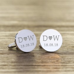 Engraved Initials and Date Cufflinks