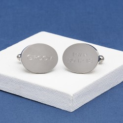 Groom Cufflinks Personalised Oval