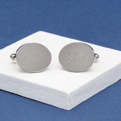 Father of The Groom Cufflinks Personalised Oval