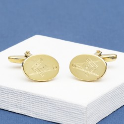 Masonic 'G' Engraved Gold Plated Cufflinks