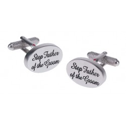 Step Father of the Groom Cufflinks Oval Italics