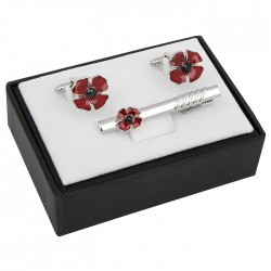 Poppy Remembrance Cufflinks and Tie Clip Set