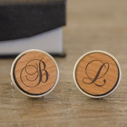 Wood Engraved Initials Cufflinks