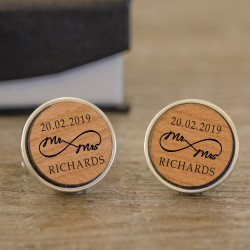 Wood Mr and Mrs Infinity Wedding Cufflinks