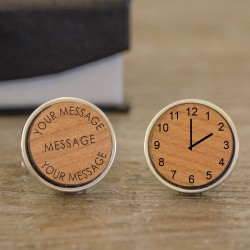 Any Message Personalised Date and Time Wooden Cufflinks