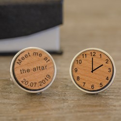 Wooden Meet Me At The Altar Wedding Cufflinks