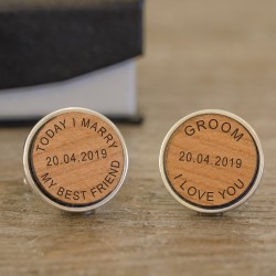 Today I Marry Cufflinks Wood