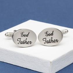 God Father Wedding Cufflinks Oval Italics
