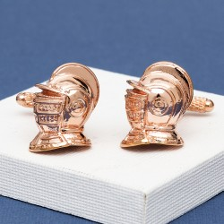 Knights Helmet Cufflinks - Rose Gold