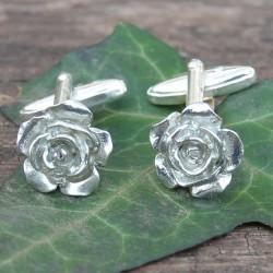 Pewter Rose Flower Cufflinks