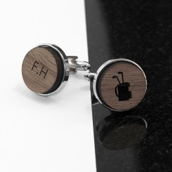 Golf Flag Wooden Cufflinks - Personalised