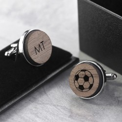 Football Wooden Cufflinks - Personalised
