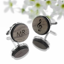 Wooden Musical Note Cufflinks - Personalised