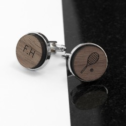 Wooden Tennis Cufflinks - Personalised