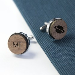 Wooden Rugby Cufflinks - Personalised