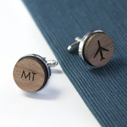 Wooden Aeroplane Cufflinks - Personalised