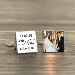 Mrs and Mrs  - Personalised Photo Cufflinks