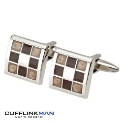 Gradient Brown Chequered Cufflinks