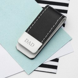 Black Leather Money Clip Personalised