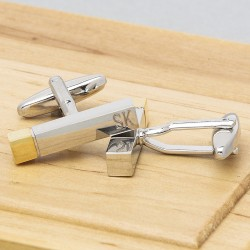 Personalised Silver and Gold Cuboid Cufflinks
