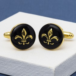 Fleur-De-Lis Cufflinks - Black and Gold
