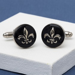Fleur-De-Lis Cufflinks - Black and Silver