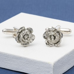 Pewter Rose Flower Cufflinks