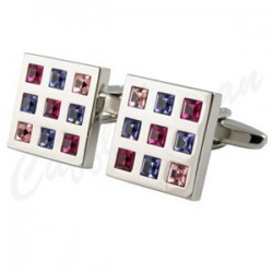 Rosso Crystal Square cufflink