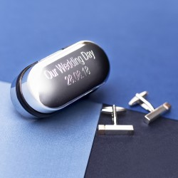 Personalised Gunmetal Cuboid Cufflinks