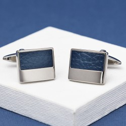 Blue Leather Cufflinks