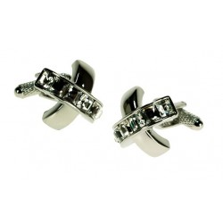 Clear Cross Crystal Cufflinks