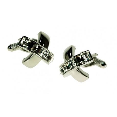 Clear Cross Crystal Cufflinks