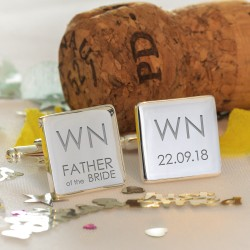 Personalised Initials Wedding Party Role Cufflinks - Square