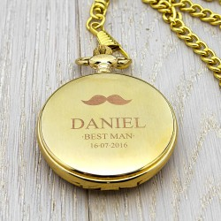Personalised  Gold Wedding Party Pocket Watch - Moustache