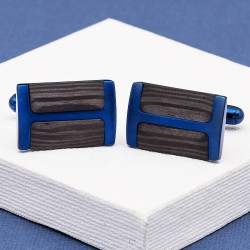 Blue and Carbon Cufflinks