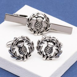 Scottish Thistle Crest Cufflinks and Tie Bar Set