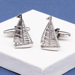 Silver Sailing Yacht Cufflinks