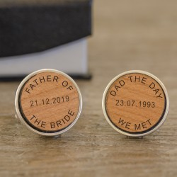 Dad The Day We Met Cufflinks - Wood Wedding Cufflinks