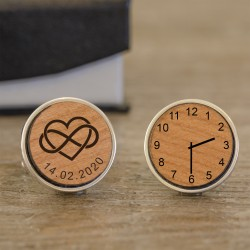 Heart Infinity Personalised Wooden Cufflinks