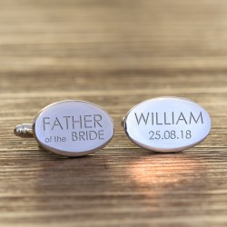 Personalised Oval Wedding Party Role Cufflinks