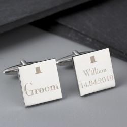 Top Hat Groom Cufflinks Personalised