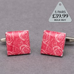 5 Pairs Cufflinks Offer Pink Rose