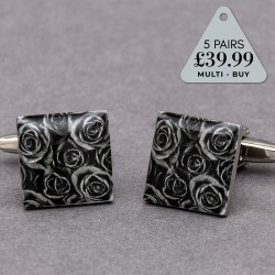 5 Pairs Cufflinks Offer Black Rose
