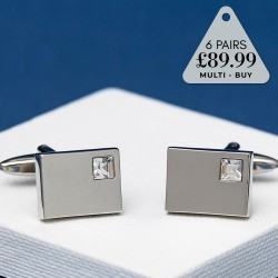 6 Pairs Cufflinks Offer Clear Crystal